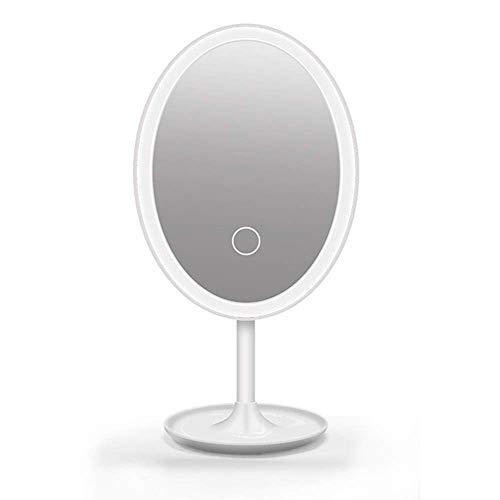 DONDOW Espejo LED Maquillaje Espejo Iluminado tocador Maquillaje Espejo, Pantalla táctil 360 Grados Tabla de rotación Libre Encimera, Espejo cosmético Redondo para baño o encimera de Dormitorio (Colo