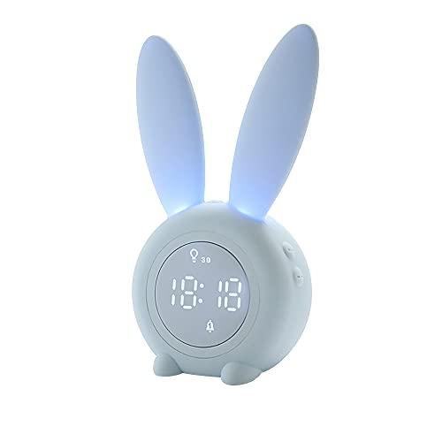 Carina Sveglia Coniglio,Sveglia Bambini da Comodino ,Sveglia da Comodino,Sveglia Digitale Led,Funzione Snooze, Luce Notturna Temporizzata,per la Decorazione Domestica y Bambini (blue)