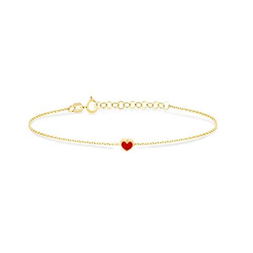 GELIN Pulsera ajustable de oro macizo de 14 quilates con cadena de corazón para mujer