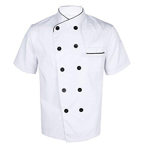 TiaoBug Casaca de Chef Hombre Uniforme Cocina Bar Restaurante Hostelera Disfraz de Cocinero Fiesta Carnaval Chaqueta Camisa de Cocina Adultos Blanco L