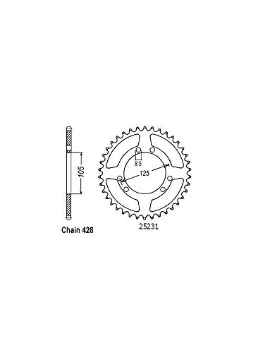 Couronne Acier - 428-56 Dents - Made in Germany