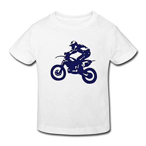 Biker Cross Enduro Kinder Bio-T-Shirt, 98-104, Weiß