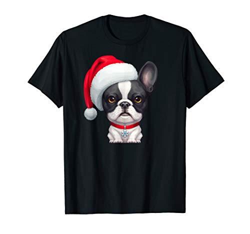 Brindle Pied French Bulldog in Santa Hat Christmas T-Shirt