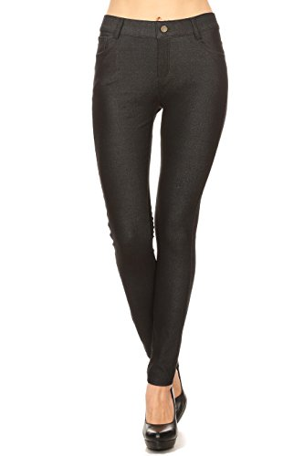 ICONOFLASH Women's Plus Size Black Jeggings with Pockets Pull On Skinny Stretch Colored Jean Leggings Size 2XLarge