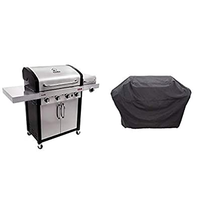 Char-Broil Signature TRU-Infrared 525 4-Burner Cabinet Liquid Propane Gas Grill with Char-Broil 5+ Burner Extra Large Rip-Stop Grill Cover