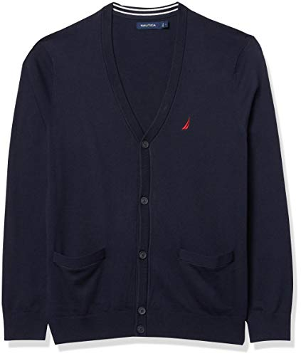 Nautica Men's Navtech Knit Cardigan, Navy, Medium