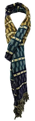 TigerTie Designer sjaal in violet blauw petrol bruin beige patroon - Gr. 200 x 30 cm.