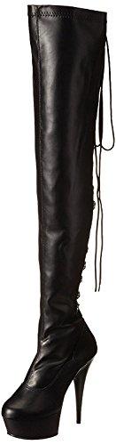 Higher-Heels PleaserUSA Overknee-Stiefel Delight-3063 Mattschwarz Gr. 41,5