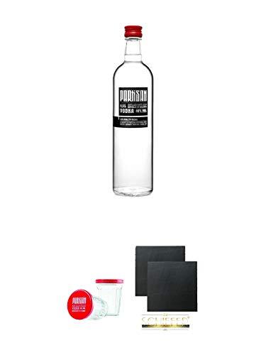 Partisan Vodka 40 Prozent 0,5 Liter + Partisan Sto Gramm Wodka Glas 10 cl mit Deckel 2 Stück + Schiefer Glasuntersetzer eckig ca. 9,5 cm Ø 2 Stück