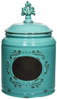 Amazon Com Home Essentials Ceramic Round Chalkboard Medallion Canister Jars With Tight Lids For Kitchen Or Bathroom Food Storage Containers 115 Oz Aqua Home Kitchen