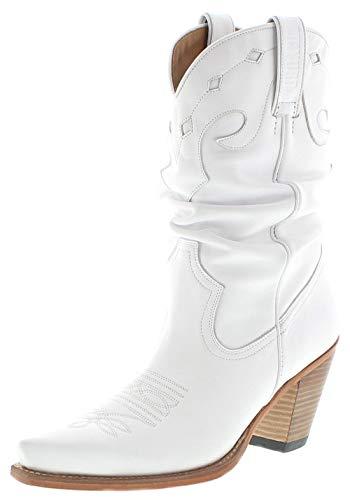 Mayura Boots Damen Cowboy Stiefel 1952 Westernstiefel Lederstiefel Weiss 41 EU