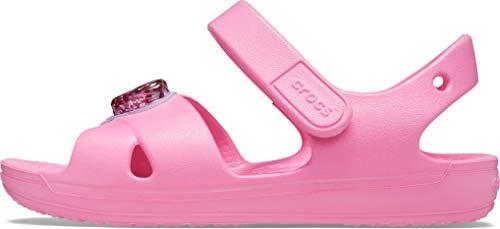 Crocs Kids' Classic Cross-Strap Sandals, Pink Lemonade/Glitter Heart, 5 Toddler