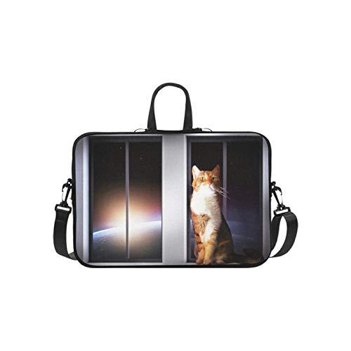 Laptop Shoulder Bag Messenger Bag Case Notebook Handle Sleeve Neoprene Soft Carring Tablet Travel Case,Ginger Cat Sits On Window Space Laptop Handbags 14'