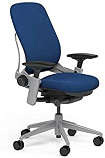 Steelcase Leap Desk Chair in Buzz2 Blue Fabric - Highly Adjustable Arms - Platinum Frame and Base - Standard Carpet Casters