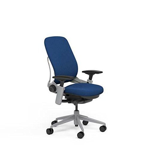 Steelcase Leap Desk Chair in Buzz2 Blue Fabric - Highly Adjustable Arms - Platinum Frame and Base - Soft Dual Wheel Hard Floor Casters