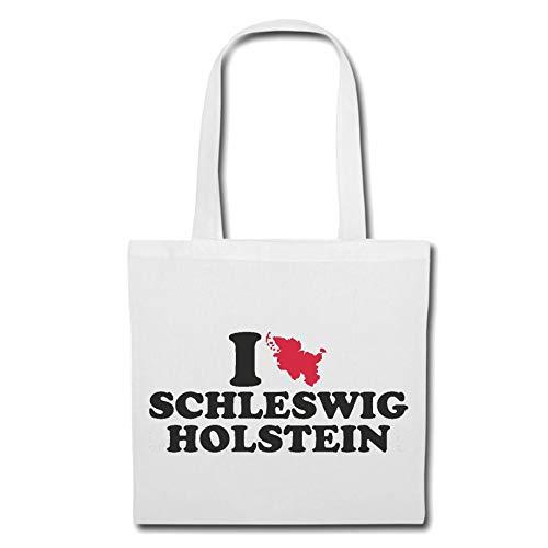 Tasche Umhängetasche I Love Schleswig Holstein - Deutschland - Germany - Bundesland - Hauptstadt Einkaufstasche Schulbeutel Turnbeutel in Weiß
