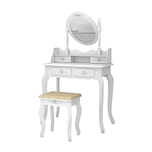 Vanity Table Set with Mirror & Stool, Makeup Vanity Dressing Table 4-Drawer -