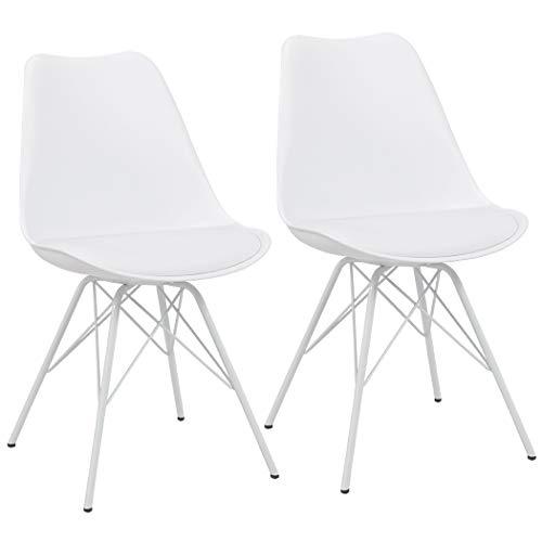 Duhome Esszimmerstuhl 2er Set Küchenstuhl Kunststoff mit Sitzkissen Stuhl Vintage Design Retro Farbauswahl 518J, Farbe:Weiß+Weissgestell, Material:Kunstleder