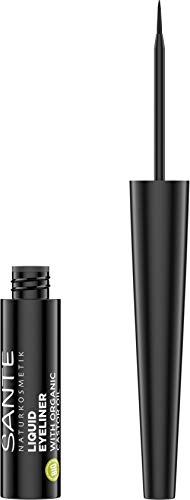 Sante Naturkosmetik Liquid Eyeliner 01 black, Flüssiger Eyeliner in schwarz, Feine spezielle Filzspitze, Natural Make-up, Vegan 3,5ml