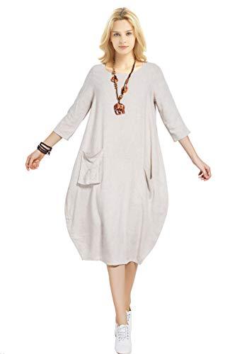 Anysize Soft Linen Cotton Lantern Loose Dress Spring Summer Fall Plus Size Clothing Y19 Beige