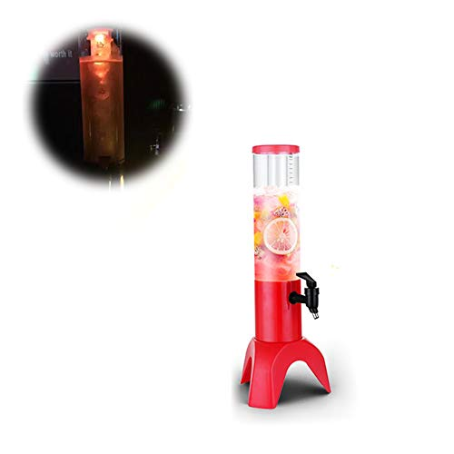 JANEFLY Dispensador de Torre de Cerveza, dispensador Comercial de Bebidas de Vino frío Dispensador de exprimidor de un Solo tazón con Tubo de Hielo y Luces LED, Torre de Jirafa de Fiesta,Red,1.5L