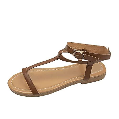 RealKing - Sandalias con cordones de color liso de estilo romano para mujer, con fondo plano, para mujer, Marrón (marrón), 42 EU