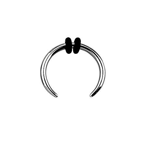 8-14G Stainless Steel Septum Pincher Nose Ring with 2 Black O-Rings (Gauge: 1.6mm (14GA) / Diameter: 10mm (3/8'))