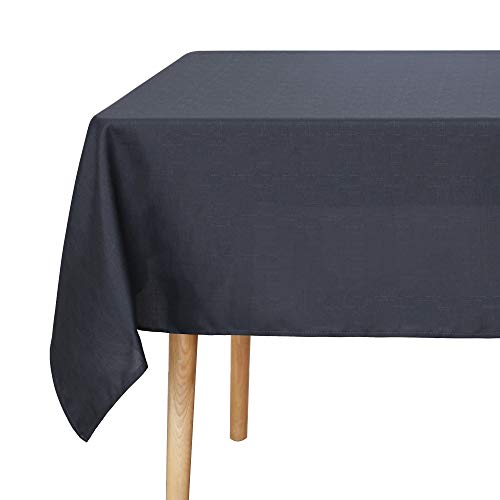 Amazon Brand - Umi Wipe Clean Woven Texture Decorative Water Resistant Table Cloth for Dining 140 x 275cm Dark Grey