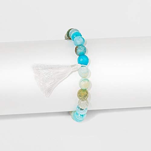 Unbranded Women's Plated Blue Fancy Jasper with White Tassel Bracelet - Silver