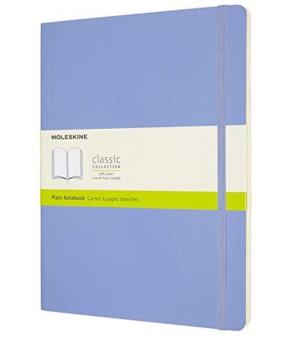 Moleskine - Klassisches Notizbuch, Blanko Seiten, Softcover und elastischer Verschluss, Größe 19 x 25 cm, Farbe hortensienblau, 192 Seiten