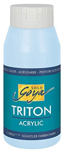 Kreul 17044 - Solo Goya Triton Acrylfarbe himmelblau hell, 750 ml Flasche, schnell und matt trocknend, Farbe auf Wasserbasis, in Studioqualität, vielseitig einsetzbar, gut deckend und ergiebig