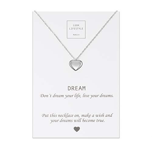LUUK LIFESTYLE Edelstahl Halskette mit Herz Anhänger und Dream Spruchkarte, Glücksbringer, Damen Schmuck, silber