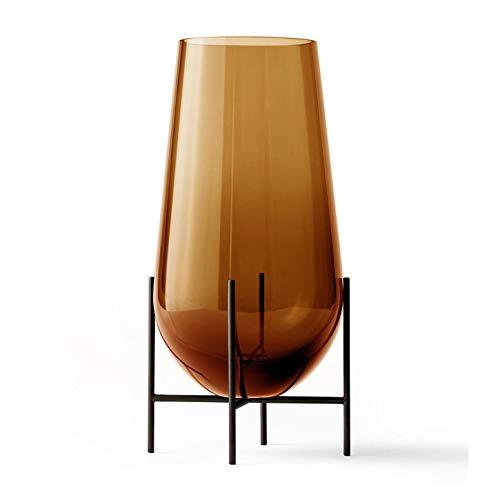 Échasse Vase L, Bernstein H 60cm Ø 30cm Gestell Messing bronziert