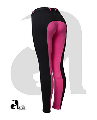Astile Damen Reithose Reithose Reithose Weich Stretch, schwarz / rosa, UK 12/30-Inch
