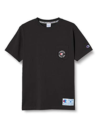 [チャンピオン] Tシャツ 半袖 綿100% ポケットTシャツ ロゴフェルトワッペン ジョックタグ付きショートスリーブTシャツ C3-T319 メンズ ブラック L