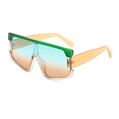 ShZyywrl Gafas De Sol Remaches De Gran Tamaño para Mujer, Color De Contraste, Personalidad, Gafas De Sol Cuadradas De Una Pieza, Gafas De Montura Grande De Mod