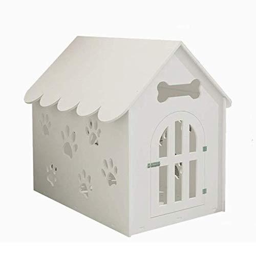 Handgemachte Pet House Wpc Board Material Indoor Pet Shelter Environmentally Friendly Easy Clean Sommer im Freien wasserdicht Cat Dog Villa sicher und sauber (Color : White)