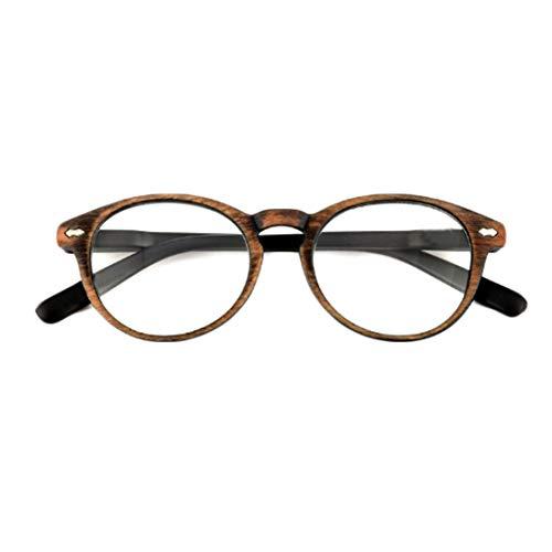 Huicai Gafas de lectura unisex retro imitación madera grano gafas de lectura resorte de plástico espejo patas gafas de lectura redondas clásico