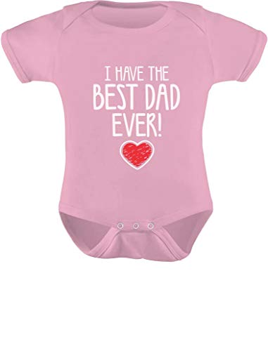 Tstars I Have The Best DAD Ever Fathers Day Outfit Cute Infant Baby Boy Girl Bodysuit Newborn Pink
