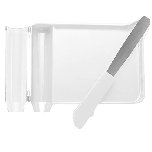 Right Hand Pill Counting Tray with Spatula (White, Stainless Steel Blade + Plastic Handle)