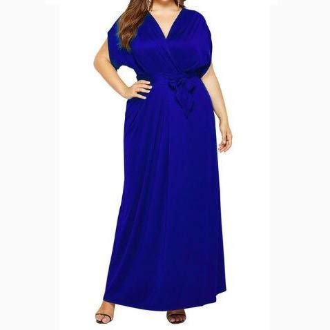 Yiyu Nachthemd Damen Bademantel Damen Morgenmantel Damen Nachtkleid Nacht Kleidung Babydoll Nachtwäsche Große Größen Damen Unterwäsche Unterkleid x (Color : Blue, Size : XXXL)
