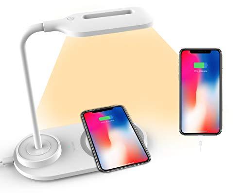 Lámpara de mesa o escritorio LED A&S con base de carga inalámbrica antideslizante, 3 intensidades luminosas para escritorio y oficina, para leer y estudiar