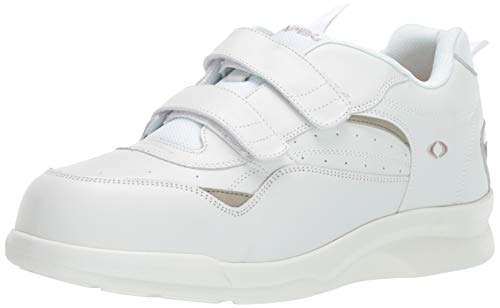 Apex Men's Double Strap Active Walkers-Biomechanical Sneaker, White, 7.5 W US