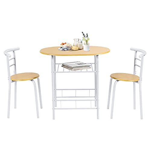 COSTWAY Premium 3 Piece Dining Set, Breakfast Table and 2 Chairs with Metal Frame and Shelf Storage, Compact and Modern Design for Kitchen, Living Room, Office, Bars and Apartment (Yellow+White)