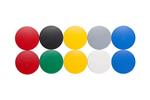 Magnet Maulsolid, rund, Kraftmagnet, bruchsicherer Kunststoff, 2500 g Haftkraft, 38 x 15,5 mm, bunt, 6163999, 10 Stück