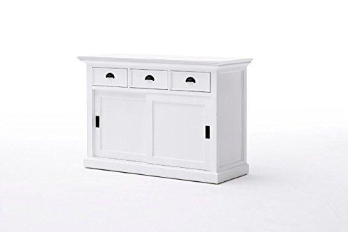Halifax Landhausmöbel Buffetschrank Weiß 3 Schubladen und Schiebetüren Buffet Fertig Montiert Küchenschrank