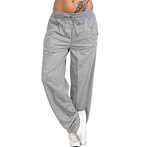 N\P Pantalones sueltos casuales de las mujeres pantalones de deporte Harem de pierna ancha de encaje recto