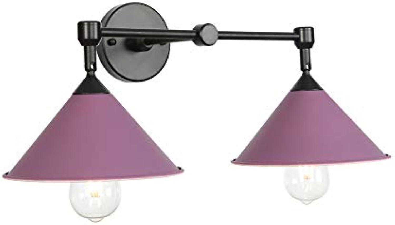 Ganeep Moderne Doppelkopf Eisen Wandleuchte Nordic Led E27 220 V 5 Farben Leuchte Wandleuchte Für Wohnzimmer Schlafzimmer Restaurant Studie Büro (Farbe   lila)