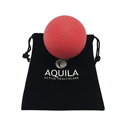 AQUILA ACTIVE Pelota Lacrosse para Masaje - Rehabilitacion - Pilates y Fisioterapia - automasaje tu miofascial Trigger Point con el Bolso de Lazo (Rojo)