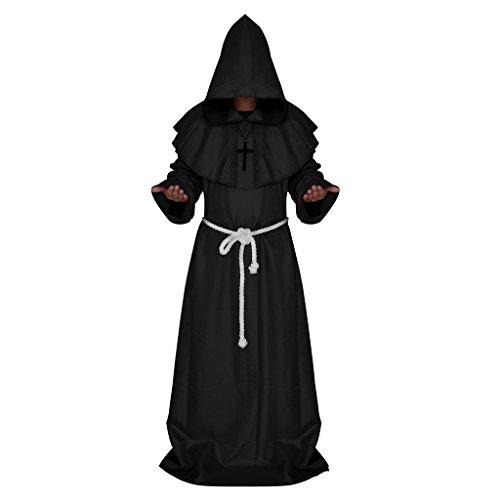 freneci Monje Constume Sacerdote Medieval Disfraz con Capucha Clero Tnica Halloween Religioso - Negro, S